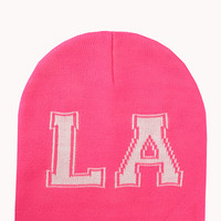 FOREVER 21 City Of Angeles Beanie Neon Pink/Cream One