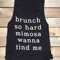 Brunch So Hard Mimosa Black Tank Top