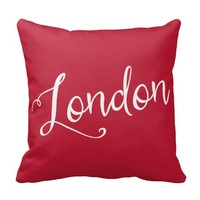 Chic Red and White London England Typography Throw Pillow
