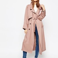 ASOS | ASOS Trench in Waterfall Drape with Roll Back Sleeve at ASOS