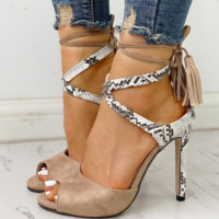 Women's new fish-bill snake-fringed crossed stiletto sandals