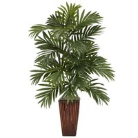 Nearly Natural 32 in. H Green Areca Palm with Bamboo Vase Silk Plant-6675 - The Home Depot