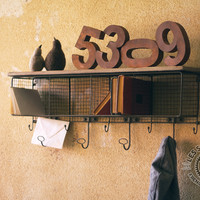 Large Wire Mesh Four Hole Cubby With Coat Rack