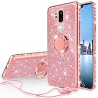 LG G7 ThinQ Case, Glitter Cute Phone Case Girls with Kickstand,Bling Diamond Rhinestone Bumper Ring Stand Sparkly Luxury Clear Thin Soft Protective LG G7 ThinQ Case for Girl Women - Rose Gold