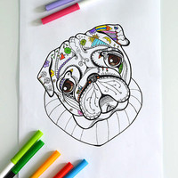 """Digital coloring page with Pug. Printable coloring book page for adult and children, Instant Download 8,5 x 11"""" JPG file. Sketch drawing."""