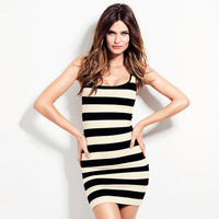2016 Spring Summer Sexy Stylish Black and White Stripes Design Floral Women One-Piece Dress
