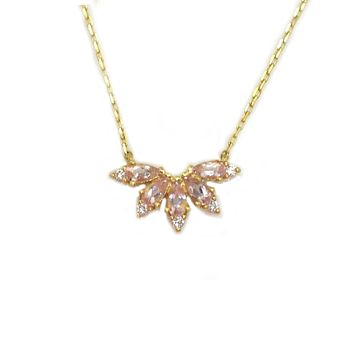 14kt Gold Pink Morganite and Diamond Butterfly Pendant
