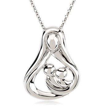 Rhodium Plated Sterling Silver Mother & 2 Children Embrace Necklace