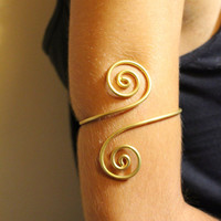 Upper arm cuff arm band, spiral shape made of brass, aluminium, german silver or sterling silver 925  wire.