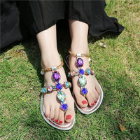Size 5-8.5 Buyer Show  Summer  2017 New Roman Sandals Rhinestones   Sandals Bohemian Style Ladies Flat Sandals Women's Shoes