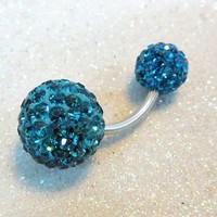 Bellybutton ring, belly ring 8 and 12mm blue zircon crystal balls 14ga