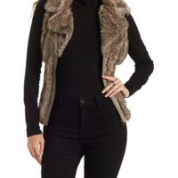 Brown Ribbed Faux Fur Vest by Charlotte Russe