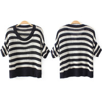 Black and White Stripe Short Sleeve Knitted Top