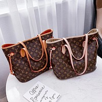 Hipgirls LV Bag Louis Vuitton Shopping Bag Fashion Women Shoulder Bag Big Shopping Bag Two Piece Big + Small Bag