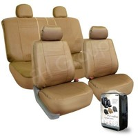 FH-PU005114 Exquisite Leather Car Seat Covers, Airbag compatible and Rear Split Beige Color