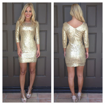 Kennedy Sequin Party Dress - GOLD
