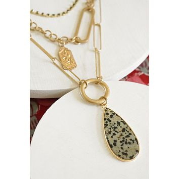 Layered Statement Necklace With Dalmatian Stone Pendant