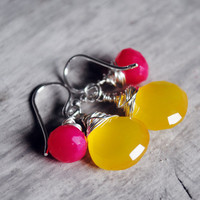Yellow and Pink Earrings Chalcedony Sterling Silver by starletta