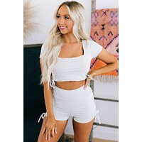 Into The Ring Side Ruched Two Piece Set (Grey)