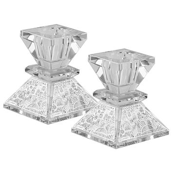 """Crystal And Silver Mini Candlestick 2.5""""H"""