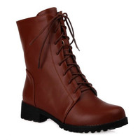 Zippered Lace Up Combat Boots