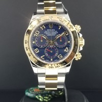 Rolex Daytona Ref. 116503 18k Yellow Gold & Steel Blue Arabic Dial 2016' Papers