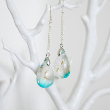 Dandelion Earrings Blue Teardrop Eco Resin Real Seeds Turquoise Minty Wishy Jewelry Wedding Bridal Bridesmaid