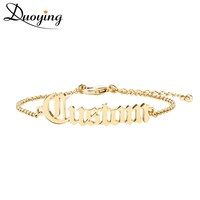 Duoying Adult Old English Cutting Name Bracelet Personalize Gold Bracelet Best Friend  Dainty Jewelry for women Etsy fashion
