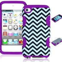 Bastex Hybrid Hard Case for Apple iPod Touch 4, 4th Generation - Purple Silicone with Black & White Chevron Pattern
