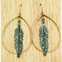Rustic Turquoise Feather Hoop Earrings