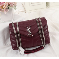 YSL  Women Leather Shoulder Bag Satchel Tote Bag Handbag Shopping Leather Tote Crossbody Satchel Shouder Bag  25cm