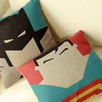 Superman Batman  linen cushion pillow cover sofa bedroom sitting room adornment