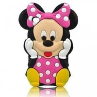 3d Cute Lovely Disney Mounse Minnie Mickey Soft Silicon Gel Rubber Case Cover Skin for Iphone Ipod Samsung (ipod Touch 4:Hot Pink)