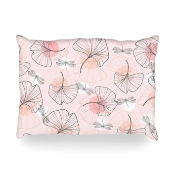 """Mmartabc """"Pattern Flowers And Dragonflies"""" Pink Gray Illustration Oblong Pillow"""