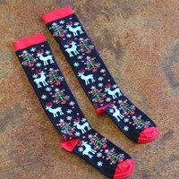 Knee High Christmas Socks {Black Mix}