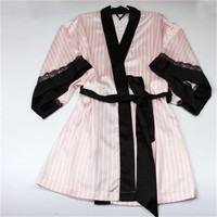 Striped Satin Cotton Silk Nightgown, Sexy nightwear Sleepwear Nightgown for Women Fashion Kimono Robes with Black Lace