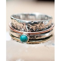 Anabele Meditation Ring * Turquoise * Bronze, Copper and Sterling Silver * BJS010