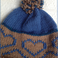 Blue Brown Knitted Pon Pon Wool Hat for Children