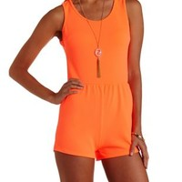 Neon Coral Neon Scalloped Open Back Romper by Charlotte Russe