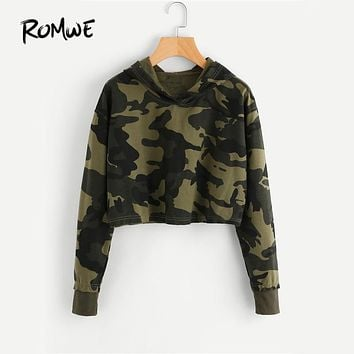 ROMWE Camo Print Crop Hoodie Green Long Sleeve Sexy Casual Women Hooded Sweatshirt Fall 2018 New Fashion Short Brief Hoodies