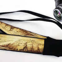 Vintage Sea Map Camera Strap. Vintage Ship Camera Strap. Camera Accessories