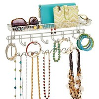 InterDesign Classico Fashion Jewelry Organizer for Rings, Earrings, Bracelets, Necklaces - Wall Mount, Satin