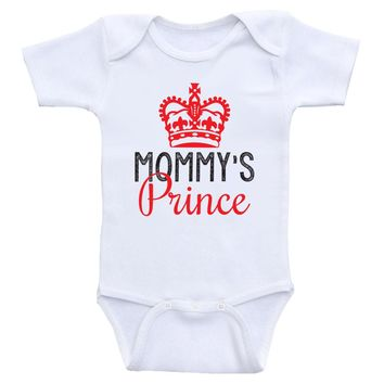 "Baby Boy Clothes ""Mommy's Prince"" Cute Baby Boy One Piece Onesuits"