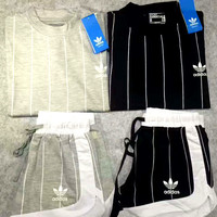 """""""ADIDAS"""" Casual Print Short Sleeve Shirt Top Tee Blouse Two Peice  G-A-XYCL"""