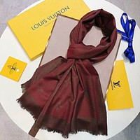 Bunchsun LV Louis Vuitton Trending Women Men Stylish Cashmere Scarf Scarves Shawl Accessories Red I-TMWJ-XDH