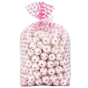 Pink Polka Dot Gusseted Cello Bags 4x2x9