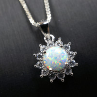 Opal Necklace - Princess Diana Necklace - Synthetic White Fire Opal Full Sterlin