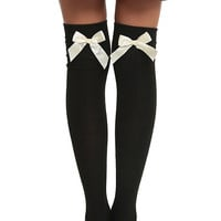 Black And Ivory Bow Over-The-Knee Socks