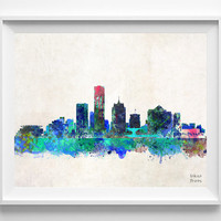 Milwaukee Skyline, Print, Watercolor Poster, Wisconsin, Cityscape, City Painting, States, Illustration Art, Wall, Home, Decor [NO 207]