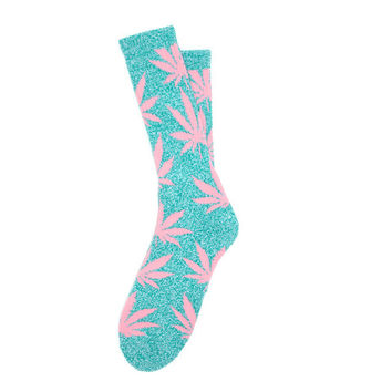 HUF - PLANTLIFE CREW SOCKS HOL14 // TEAL HEATHER / PINK